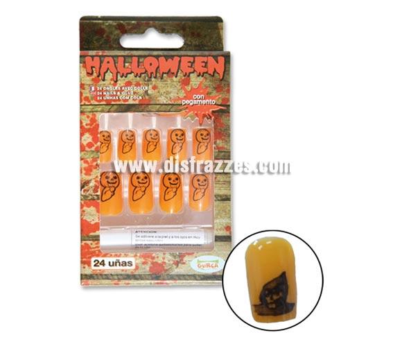 Caja 24 uñas naranjas con pegamento para Halloween.