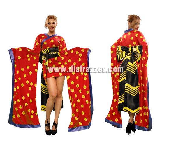 Disfraz de Geisha Roja para mujer. Talla standar M-L = 38/42. Incluye vestido, cinturón con lazo.