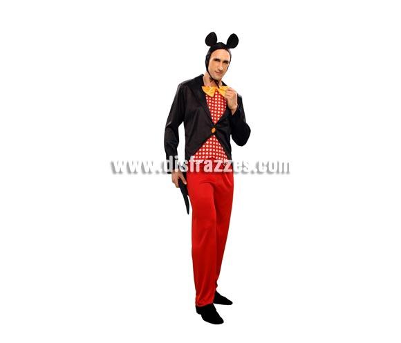 Disfraz de Ratón para hombre. Talla standar M-L = 52/54. Incluye chaqueta, pantalón y gorro. Con éste disfraz podrás imitar al fantástico Mickey Mouse y reirte un rato en Carnaval.