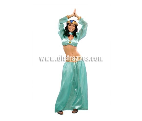 Disfraz de Princesa Árabe para mujer. Talla standar M-L = 38/42. Incluye camisa, pantalón, falda y tocado de la cabeza. Con éste disfraz también podrás imitar a la Princesa Jazmín y pasártelo genial.