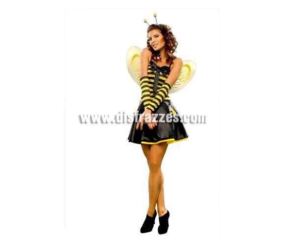 Disfraz barato de Lady Avispa sexy para mujer. Talla standar M-L = 38/42. Incluye vestido, alas, tocado y brazaletes. También podría denominarse disfraz de Abeja o Abejita Sexy.