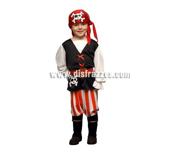 Disfraz barato de niño Pirata de 1 a 2 años. Incluye chaleco, pantalón, pañuelo de la cabeza, cinturón y cubrebotas.