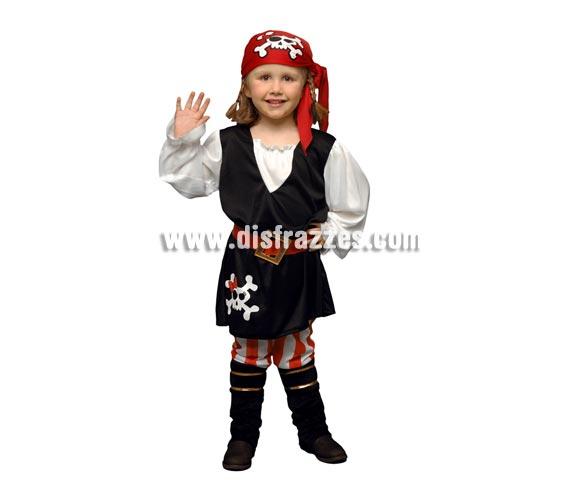 Disfraz barato de niña Pirata de 1 a 2 años. Incluye chaleco, pantalón, pañuelo de la cabeza, cinturón y cubrebotas.
