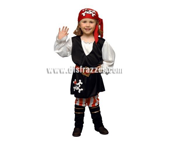 Disfraz barato de niña Pirata de 3 a 4 años. Incluye chaleco, pantalón, pañuelo de la cabeza, cinturón y cubrebotas.