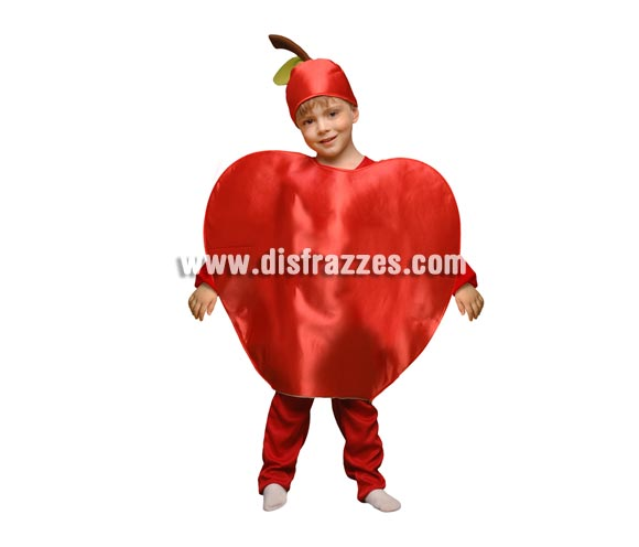 Disfraz de Manzana para niños de 1 a 2 años. Incluye disfraz de goma espuma con forma de manzana y gorro.