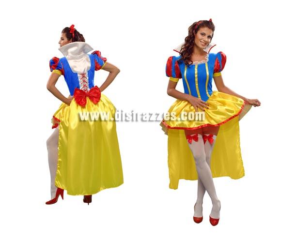 Disfraz de Blancanieves sexy para mujer. Talla standar M-L = 38/42. Incluye vestido y tocado. Medias NO incluidas, podrás verlas en la sección de Complementos.