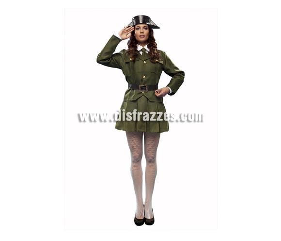 Disfraz de Guardia Civil para mujer. Talla standar M-L = 38/42. Incluye chaqueta, falda, corbata, tricornio y cinturón.