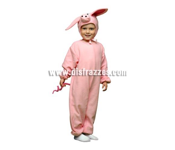 Bonito y original disfraz de Cerdito o Piglet para niños de 5 a 6 años. Incluye mono y gorro.