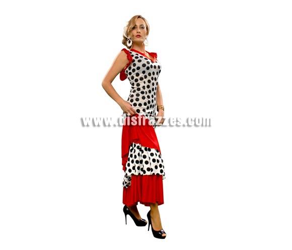 Disfraz barato de flamenca Taranto para mujer. Talla standar M-L = 38/42. Incluye sólo el vestido. Complementos NO incluidos.