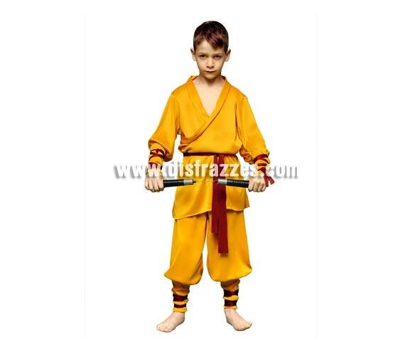 Disfraz barato de Luchador Shaolin Kung Fu para niños de 7 a 9 años. Incluye chaqueta, pantalón, manguitos, cinturón y cintas para piernas y para brazos. Arma NO incluida, podrás verla en la sección de Complementos. También sirve como disfraz de Ninja.