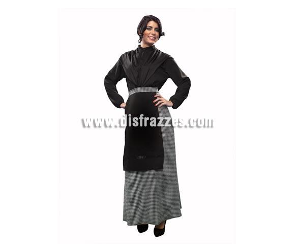 Disfraz de Castañera para mujer. Talla standar M-L = 38/42. Incluye camisa, falda con delantal y pañuelo negro. También se podría usar como disfraz de Vieja o Anciana o Abuela.