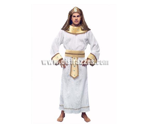 Disfraz de Faraón Egipcio Akenaton para hombre. Talla standar M-L = 52/54. Incluye túnica, cinturón, collarín y tocado.