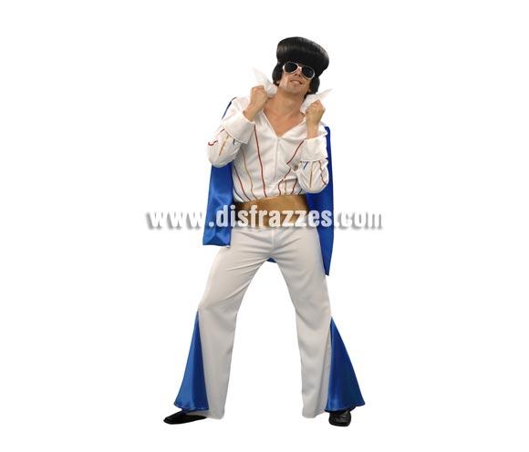 Disfraz de Elvis para hombre. Talla standar M-L = 52/54. Incluye camisa con capa, pantalón y cinturón. Peluca y gafas NO incuidas, podrás verlas en la sección de Complementos.