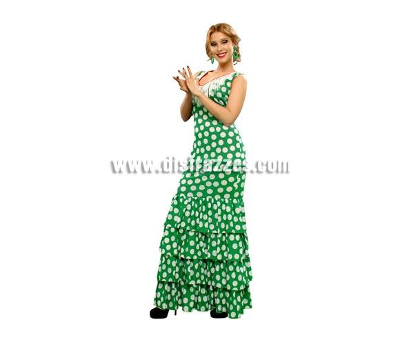Disfraz de Malagueña para mujer. Talla standar M-L = 38/42. Incluye vestido verde con lunares blancos. Complementos o pendientes NO incluidos, podrás verlos en la sección de Complementos - Joyas, pendientes y Collares. Disfraz de Sevillana, Flamenca o Gitana ideal para la Feria de Sevilla.