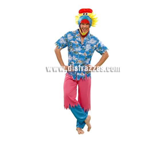Disfraz de Pájaro Hawaiano para hombre. Talla standar M-L = 52/54. Incluye camisa, pantalones y gorro. Un disfraz muy original para Despedidas de Solteros