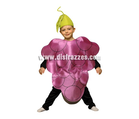 Disfraz de Racimo de Uva para niños de 3 a 4 años. Incluye disfraz de goma espuma con forma de racimo de uva y gorro.