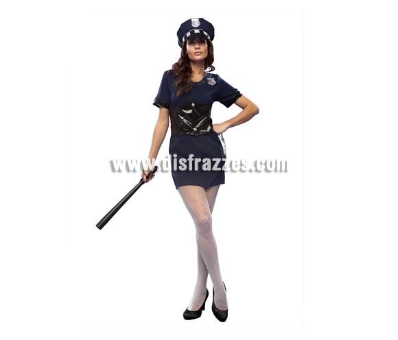 Disfraz barato de Policía Municipal sexy para mujer. Talla standar M-L = 38/42. Incluye vestido, gorro y cinturón. Porra NO incluida, podrás verla en la sección de Complementos - Armas.