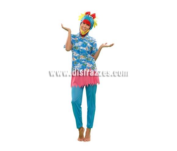 Disfraz de Pájara Hawaiana para mujer. Talla standar M-L = 38/42. Incluye camisa, pantalón, falda y gorro.