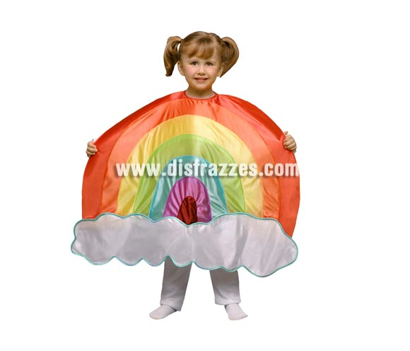Disfraz de Arco Iris para niños de 5 a 6 años. Incluye sólo el disfraz de Arco Iris en tela de goma espuma. Perfecto para teatros de colegios y guarderías.