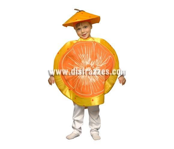 Disfraz de Mandarina para niños de 5 a 6 años. Incluye el disfraz de goma espuma con forma de Mandarina y el gorro.