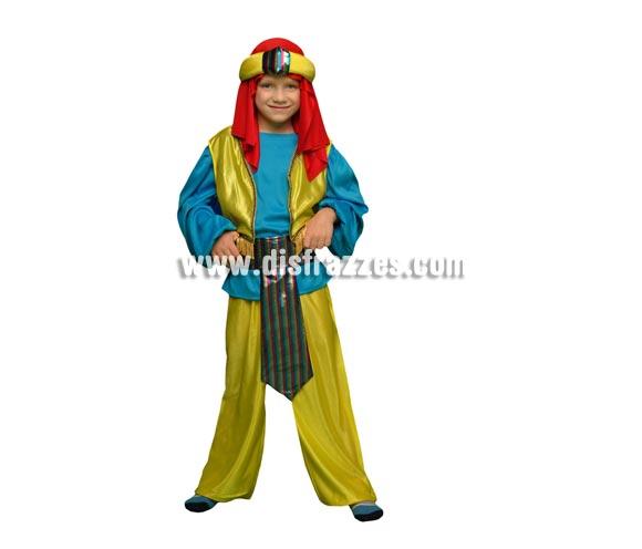 Disfraz de Paje Real o Príncipe Árabe para niños de 5 a 6 años. Incluye camisa, chaleco, pantalón, cinturón y tocado de la cabeza. Perfecto para disfrazar a los niños de Árabes o también como Paje de los Reyes Magos.