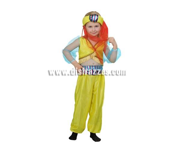 Disfraz de Paje Real o Princesa Árabe para niñas de 3 a 4 años. Incluye camisa, pantalón y tocado de la cabeza. Perfecto para disfrazar a las niñas de Árabes o también como Paje de los Reyes Magos.