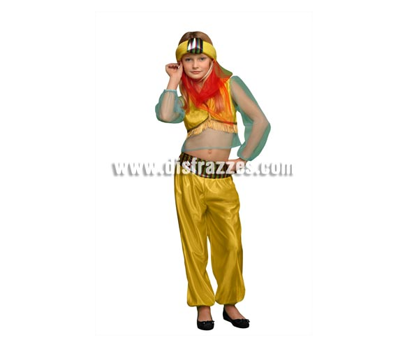Disfraz de Paje Real o Princesa Árabe para niñas de 5 a 6 años. Incluye camisa, pantalón y tocado de la cabeza. Perfecto para disfrazar a las niñas de Árabes o también como Paje de los Reyes Magos.