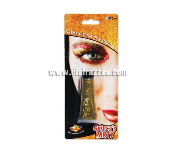 Tubo de 20 ml. de maquillaje oro glitter - brillo. Presentación en blister.