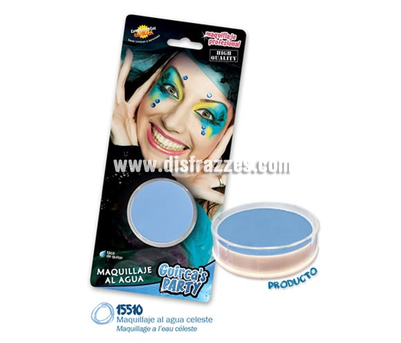 Blister de maquillaje al agua de 16 gr de color azul cielo. Perfecto para disfraces de Pitufo.