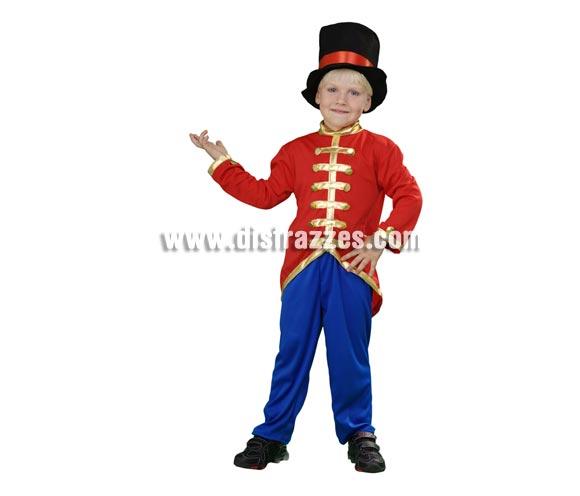 Disfraz de Presentador de Circo para niños de 3 a 4 años. Incluye chaqueta, pantalón y sombrero. También valdría como disfraz de Domador de Circo para niños.