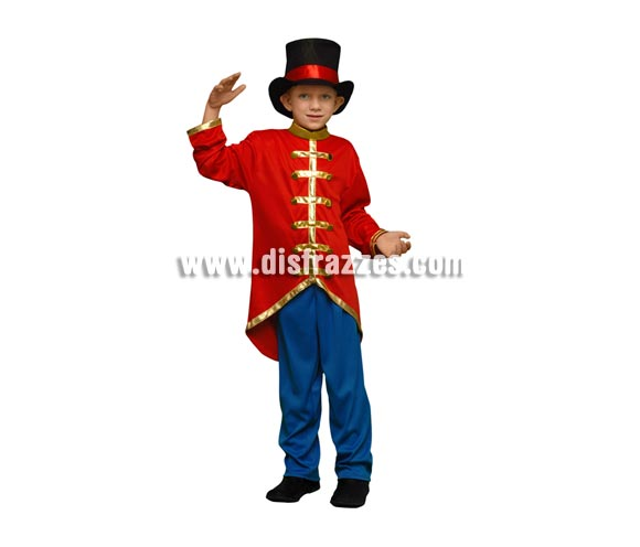 Disfraz de Presentador de Circo para niños de 7 a 9 años. Incluye chaqueta, pantalón y sombrero. También valdría como disfraz de Domador de Circo para niños.