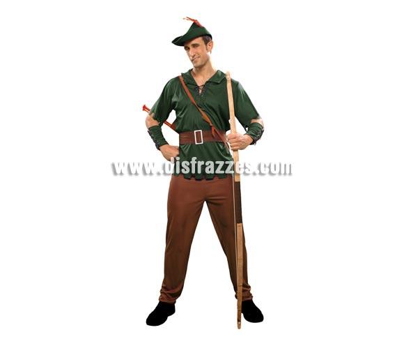 Disfraz de Robin Hood para hombre. Talla standar M-L = 52/54. Incluye camisa, pantalón, sombrero, cinturón y 2 muñequeras.