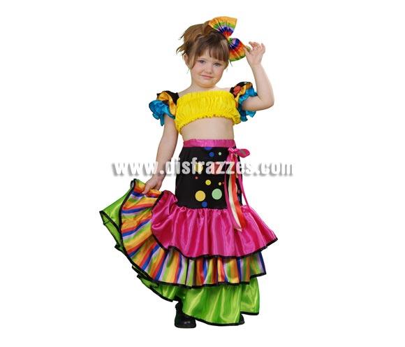 Disfraz de Salsa para niñas de 3 a 4 años. Incluye camisa, falda y tocado o lazo. Disfraz de Brasileña, Caribeña o Rumbera para niñas.
