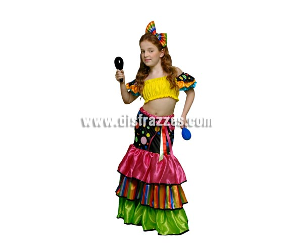 Disfraz de Salsa para niñas de 5 a 6 años. Incluye camisa, falda y tocado o lazo. Disfraz de Brasileña, Caribeña o Rumbera para niñas. Maracas NO incluida, podrás verlas en la sección de Complementos.