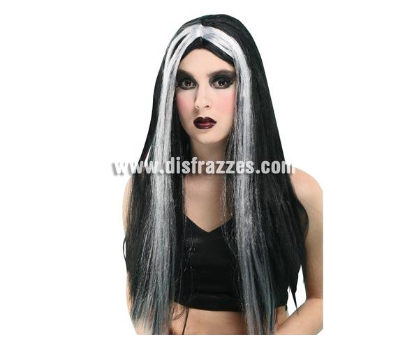 Peluca barata blanca y negra de Morticia para Halloween.