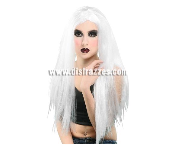 Peluca larga blanca. Perfecta para disfraz de Bruja en Halloween.