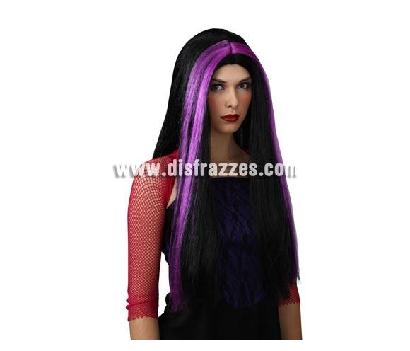 Peluca larga morena y púrpura para Halloween. Perfecta para disfraz de Bruja.