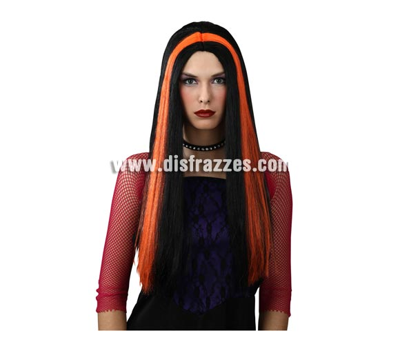 Peluca larga morena y naranja para Halloween. Perfecta para disfraz de Bruja.