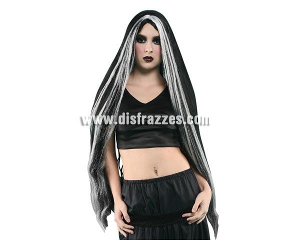 Peluca extralarga negra con mechón blanco perfecta para el disfraz de Bruja o de Morticia.