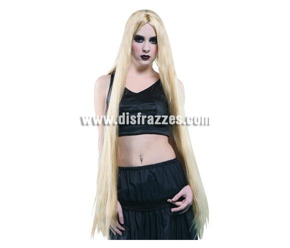 Peluca extralarga rubia. Perfecta para Halloween y para disfrazarte de Rapunzel.