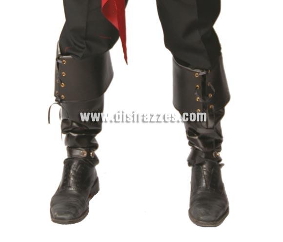 Par de polainas o cubrebotas negras lujo de 57 cm. Perfectas para disfraz de Pirata o de Mosquetero. Simil de piel.