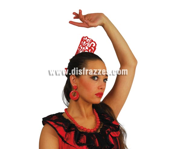 Pendientes de Andaluza de color rojo.