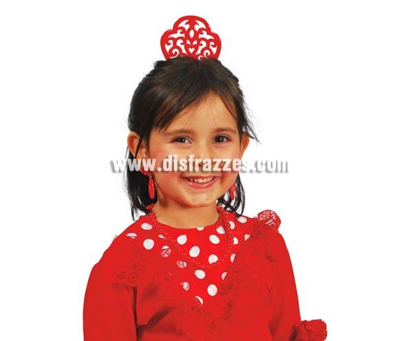 Peineta Andaluza roja infantil. Perfecta como complemento para los trajes de Sevillana, Cordobesa, Flamenca, etc.