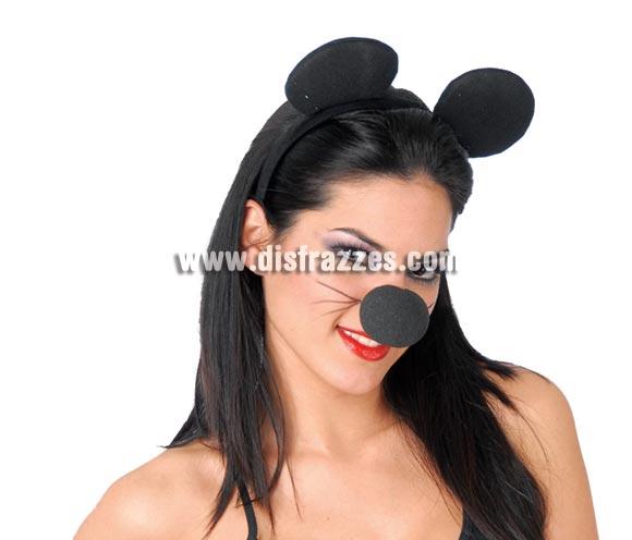 Diadema Ratón de tela. Ideal para disfrazarse de Mickey o Minnie.