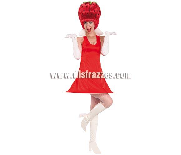 Disfraz de Fresa o Fresita con peluca para mujer. Talla standar de mujer. Incluye vestido, cubrebotas y peluca.