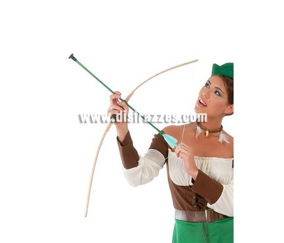 Arco con 2 flechas 150 cm. Perfecto como complemento del disfraz de Robin Hood y de Indio.