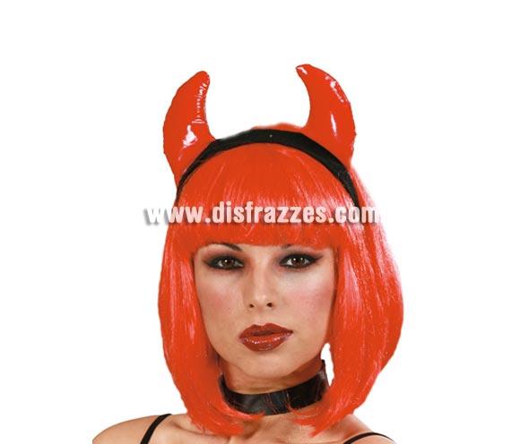 Diadema cuernos Diablesa de tela para Halloween. Perfecta también para Despedidas de Soletra.