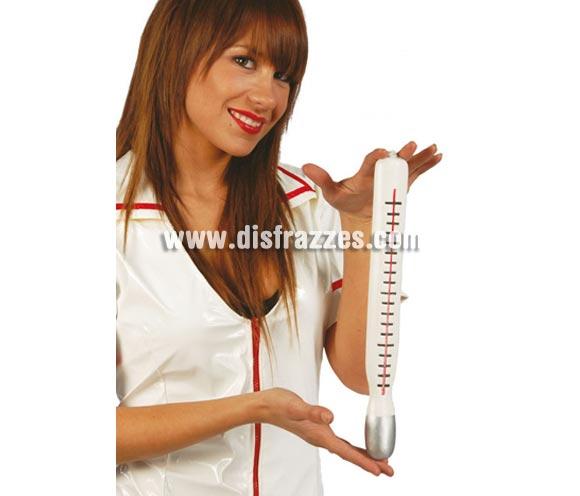 Termómetro de plástico 34 cm. Prefecto como complemento del disfraz de Enfermera o de Médico.