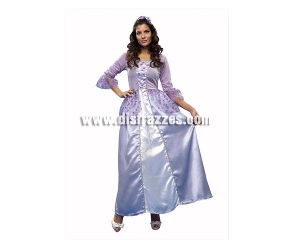Disfraz de Princesa púrpura para mujer. Talla standar M-L = 38/42. Incluye vestido y tocado de la cabeza.