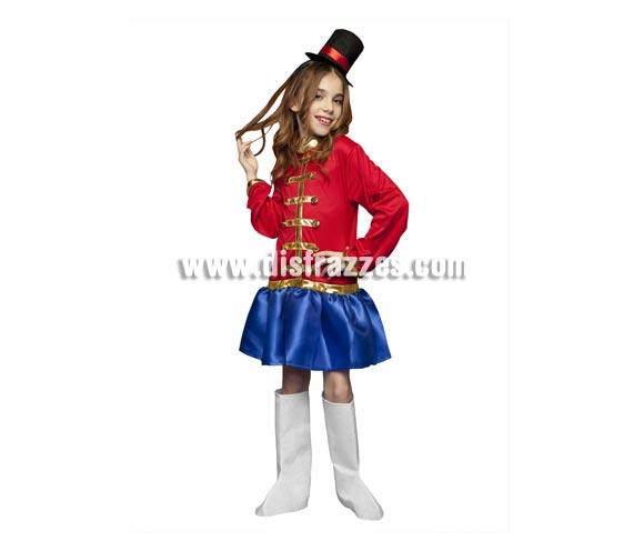 Disfraz de Domadora de Circo para niñas de 3 a 4 años. Incluye vestido, sombrero y cubrebotas.  También valdría como disfraz de Presentadora de Circo para niñas.